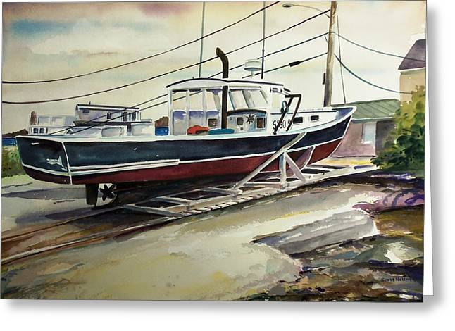 Cartoonist Greeting Cards - Up for repairs in Perkins Cove Greeting Card by Scott Nelson