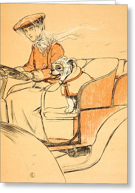 Hound Drawings Greeting Cards - Up Front Greeting Card by Cecil Charles Windsor Aldin