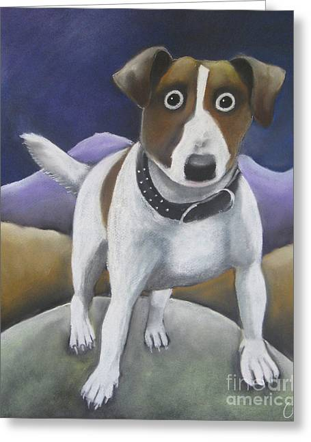 Small Dog Pastels Greeting Cards - Up here Greeting Card by Caroline Peacock