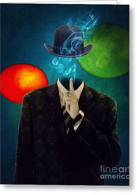 Surreal Digital Art Greeting Cards - Up in Smoke Greeting Card by Juli Scalzi