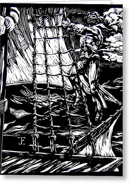 Wooden Ship Drawings Greeting Cards - Up in the Rigging Greeting Card by John Fisher