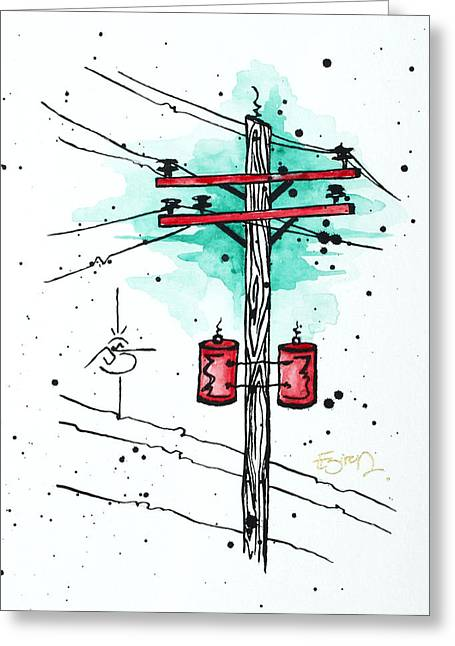 Morphed Mixed Media Greeting Cards - Up on a Wire Greeting Card by Emily Pinnell