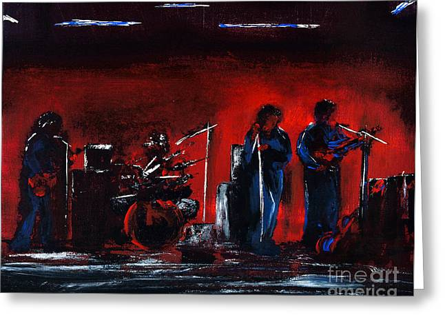 Bands On Stage Paintings Greeting Cards - Up On The Stage Greeting Card by Alys Caviness-Gober