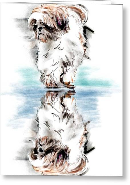 Recently Sold -  - Puppies Digital Greeting Cards - Up Or Down Greeting Card by Richard Okun