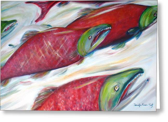 Sockeye Paintings Greeting Cards - Up Stream Greeting Card by Jennifer Kwon