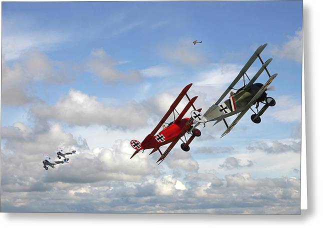 Triplane Greeting Cards - Up Sun Greeting Card by Pat Speirs