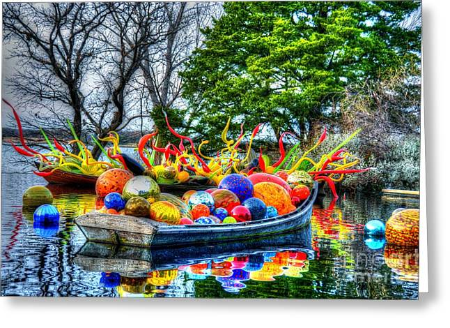 Glass Ball Greeting Cards - Up the Creek without a Paddle Greeting Card by Debbi Granruth