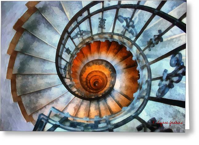Spiral Staircase Paintings Greeting Cards - Up the Down Staircase Greeting Card by Lynne Jenkins