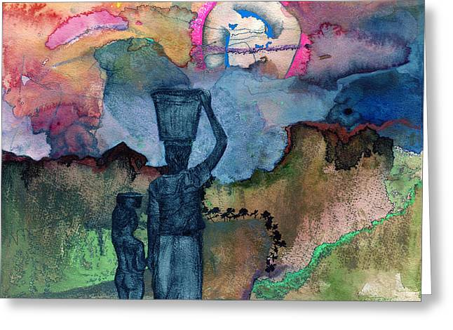 Nursery Rhyme Mixed Media Greeting Cards - Up The Hill Greeting Card by Sarah Wathen