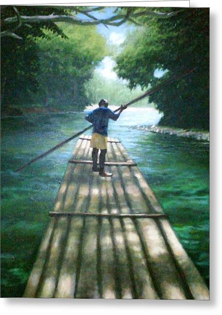 Martha Brae River Greeting Cards - Up the River Greeting Card by Arshaad Norwood