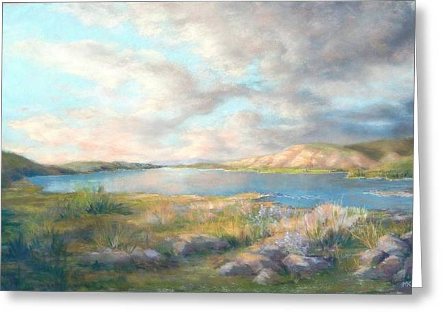 White River Pastels Greeting Cards - Up the River - Columbia Greeting Card by Marlene Kingman