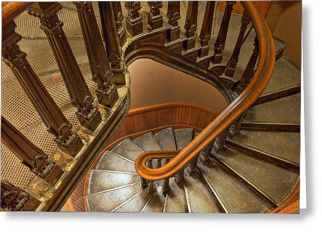 Wooden Stairs Greeting Cards - Up the Side Greeting Card by Nikolyn McDonald