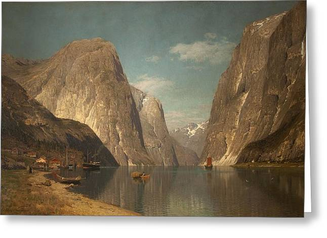 Snow Capped Mountains Greeting Cards - Up The Sogne Fjord, Near Gudangen, 1876 Greeting Card by Adelsteen Normann