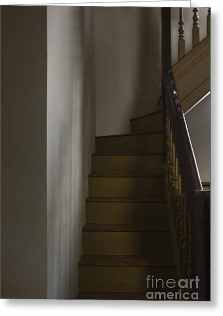 Wooden Stairs Greeting Cards - Up The Staircase Greeting Card by Margie Hurwich