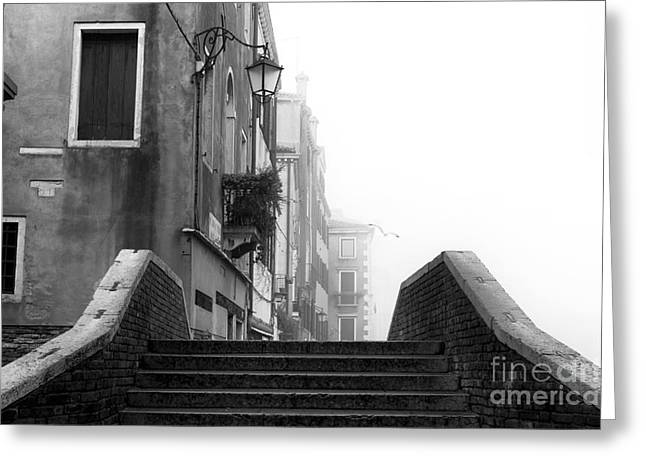 Stone Steps Greeting Cards - Up the Stairs in Venice Greeting Card by John Rizzuto