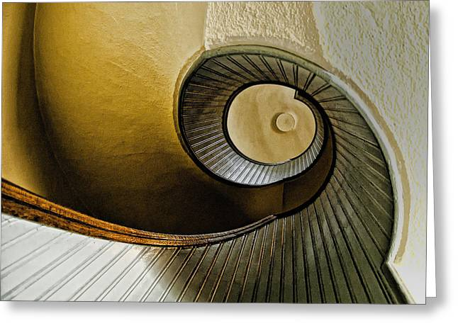 Wooden Stairs Greeting Cards - Up The Stairway Greeting Card by Jon Berghoff