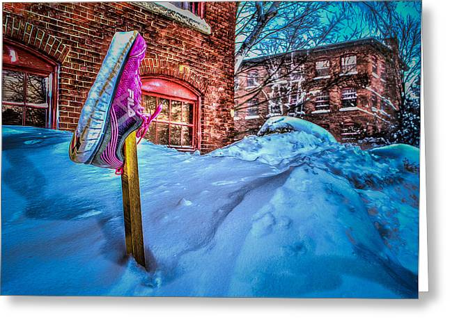 Sneaker Love Greeting Cards - Up to a FILA of snow Greeting Card by Cke Photo