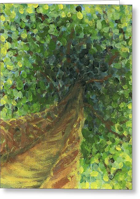 Stippling Paintings Greeting Cards - Up to the Woods Greeting Card by Ashley King