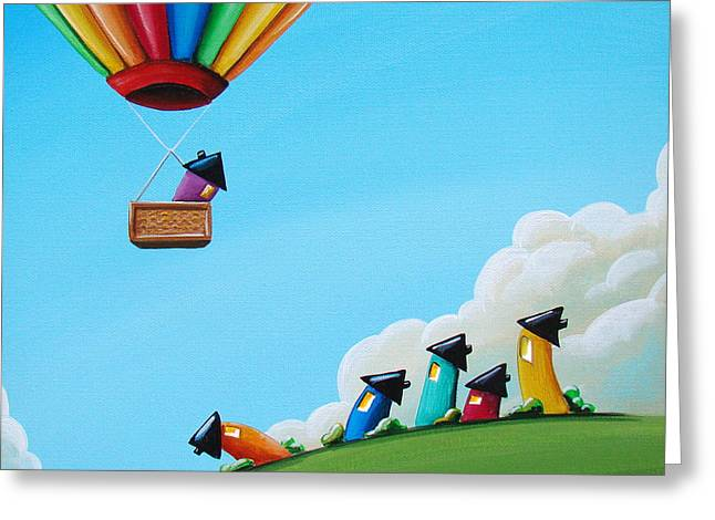 """hot Air Balloon"" Greeting Cards - Up Up and Away Greeting Card by Cindy Thornton"
