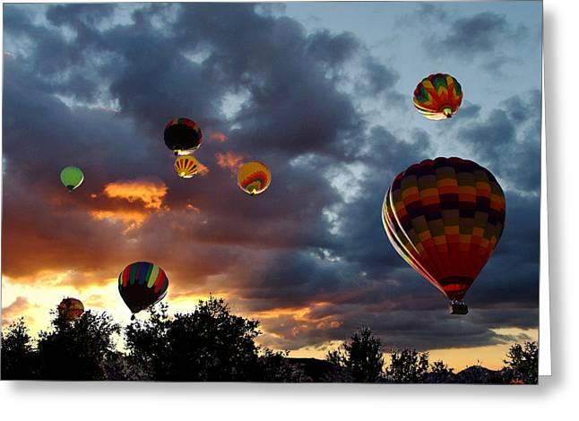 Up Up And Away - Hot Air Balloons Greeting Card by Glenn McCarthy