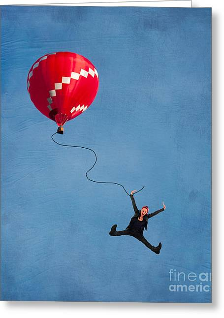 Air Travel Greeting Cards - Up up and away Greeting Card by Juli Scalzi