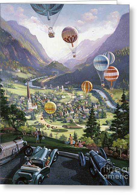 Swiss Paintings Greeting Cards - Up Up and Away Greeting Card by Michael Young