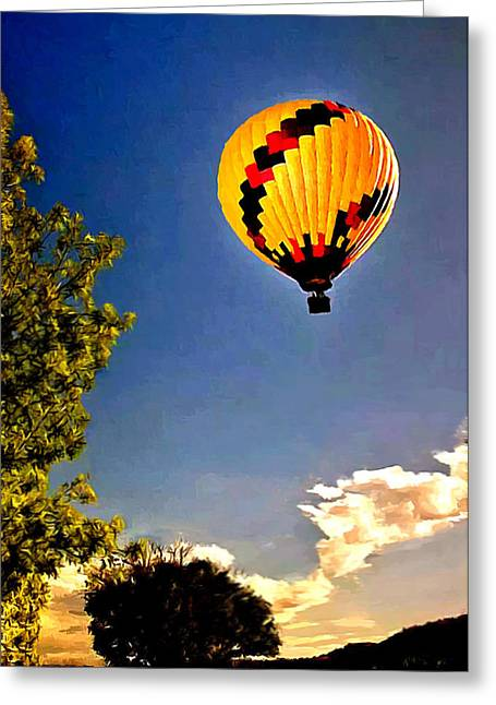 Helium Greeting Cards - Up Up and Away My Beautiful Balloon Greeting Card by  Bob and Nadine Johnston