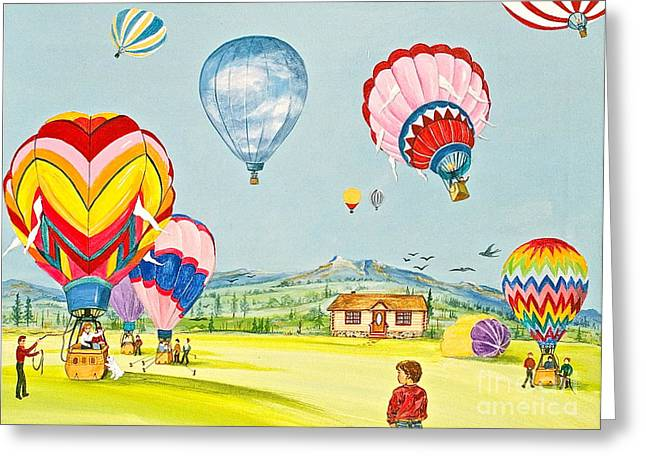 Canmore Artist Greeting Cards - Up Up And Away Greeting Card by Virginia Ann Hemingson