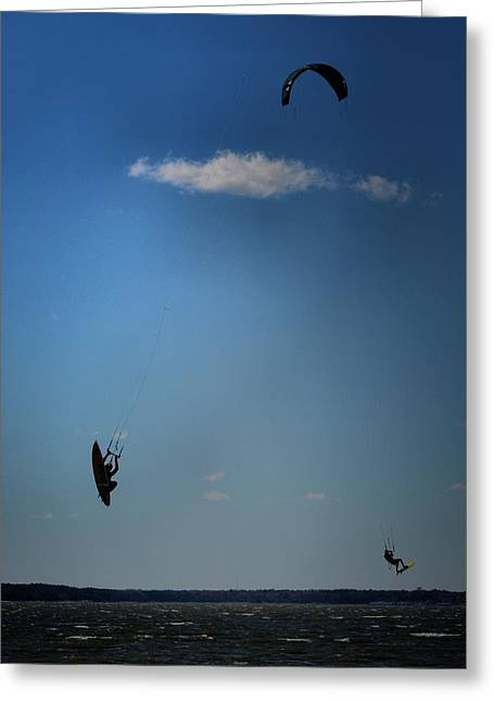 Kiteboarding Greeting Cards - Up Up n Away Greeting Card by Robert McCubbin