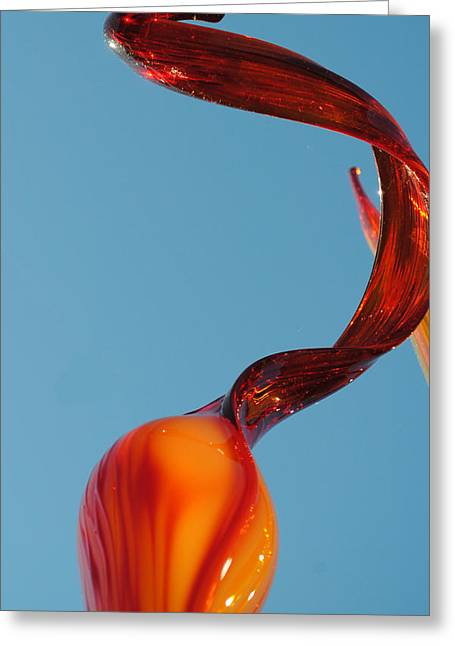 Red Abstracts Glass Art Greeting Cards - Updale 3 Cropped Greeting Card by Jon Kerr