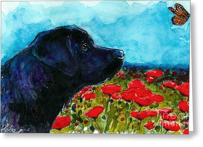Black Lab Puppy Greeting Cards - Updraft Greeting Card by Molly Poole