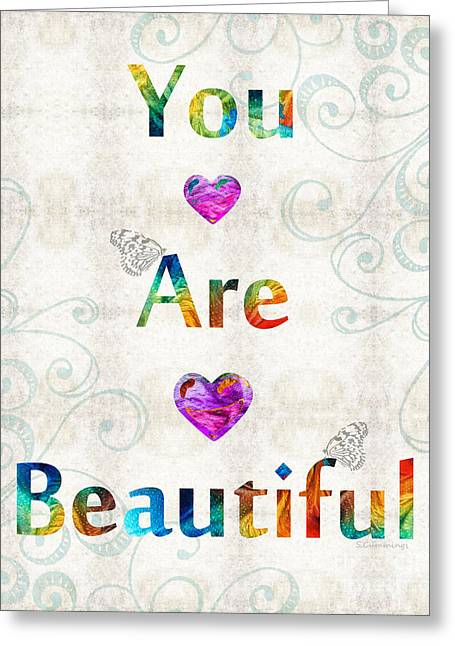 Uplifting Art - You Are Beautiful By Sharon Cummings Greeting Card by Sharon Cummings