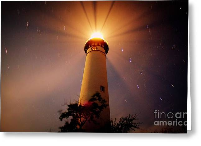 Bear Island Lighthouse Greeting Cards - Upon A Starry Night  Greeting Card by Jack  Martin