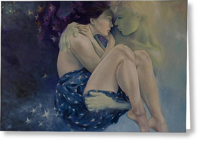 Celestial Paintings Greeting Cards - Upon Infinity Greeting Card by Dorina  Costras