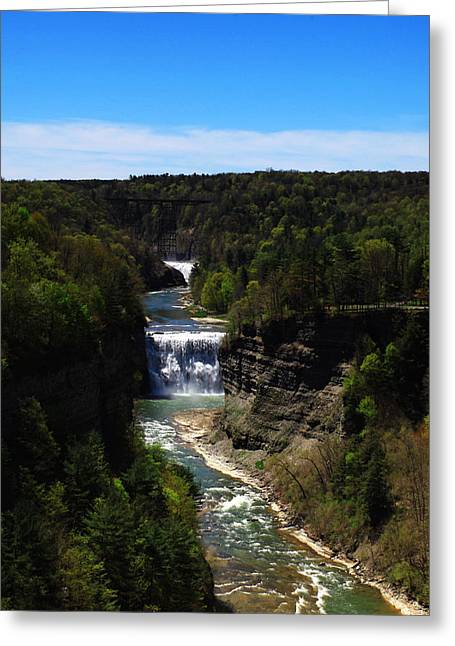 Mid West Landscape Art Greeting Cards - Upper and Middle Waterfalls In Letchworth State Park Greeting Card by Paul Ge