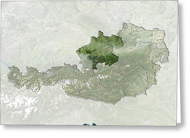 Styria Greeting Cards - Upper Austria, Austria, satellite image Greeting Card by Science Photo Library