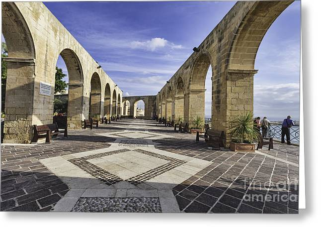 Medieval Temple Greeting Cards - Upper Barrakka Gardens Malta Greeting Card by Frank Bach