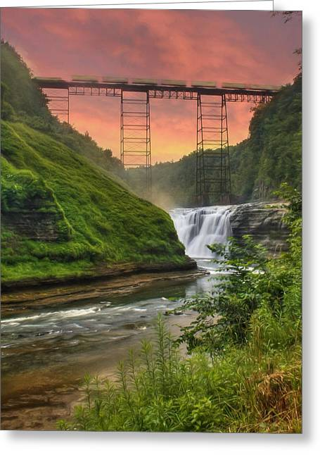 Landscape Photograpy Greeting Cards - Upper Falls of Letchworth Greeting Card by Lori Deiter
