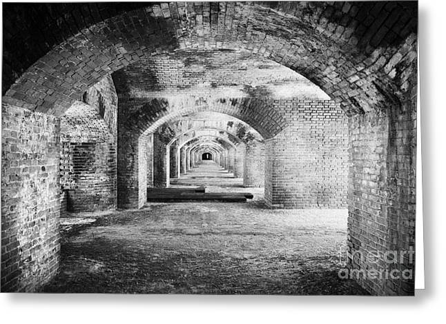 Dry Tortugas Greeting Cards - Upper Floor Brick Archway Corridors In Fort Jefferson Dry Tortugas National Park Florida Keys Usa Greeting Card by Joe Fox