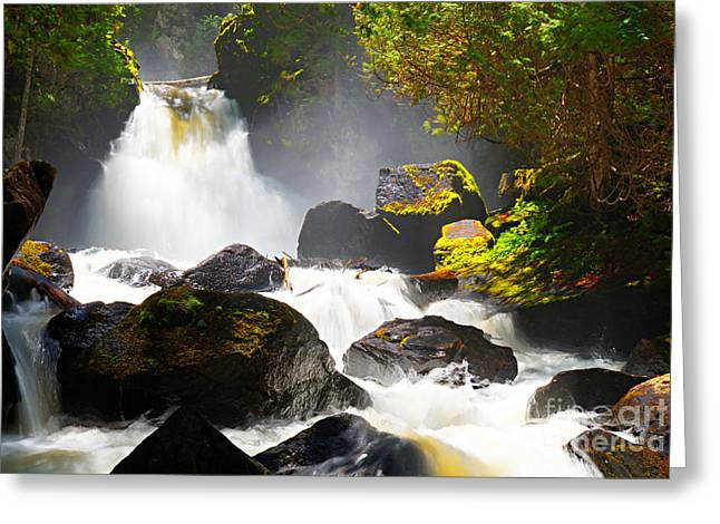 Canoe Waterfall Greeting Cards - Upper Johnson Falls Greeting Card by Larry Ricker