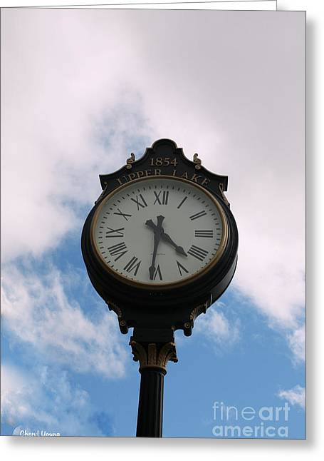 Large Clocks Greeting Cards - Upper Lake Clock Greeting Card by Cheryl Young
