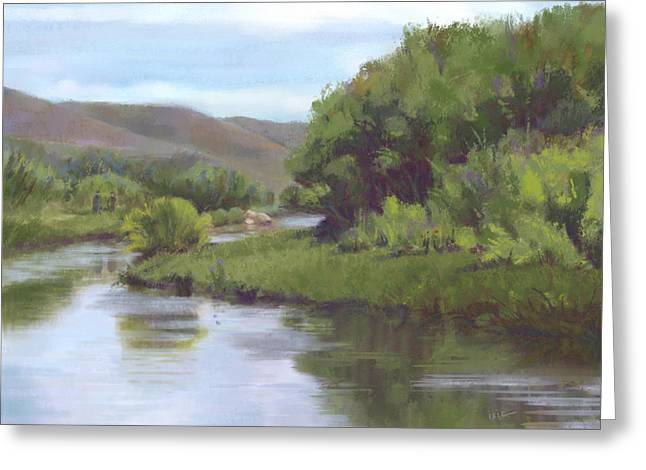 Fishermen Pastels Greeting Cards - Upper Leasy River Greeting Card by Ixie