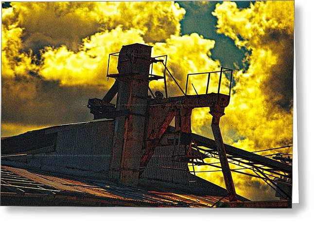 Altered Architecture Greeting Cards - Upper Level Factory Greeting Card by Linda Phelps