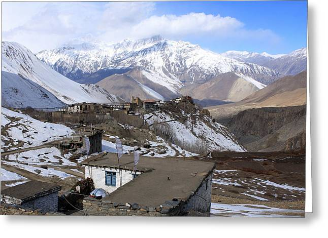 Tibetan Woman Greeting Cards - Upper Mustang Greeting Card by Aidan Moran
