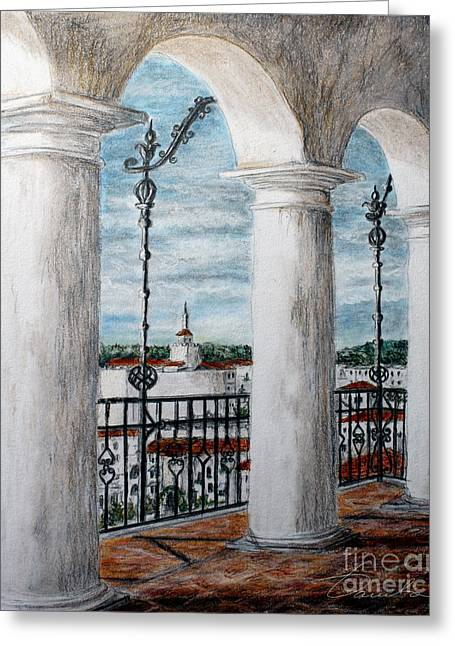 City Hall Drawings Greeting Cards - Upper perspective Greeting Card by Danuta Bennett