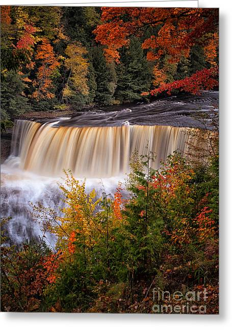 Rivers In The Fall Greeting Cards - Upper Tahquamenon Falls II Greeting Card by Todd Bielby