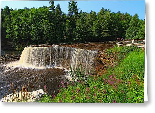 Water Flowing Mixed Media Greeting Cards - Upper Tahquamenon Falls In Summer Greeting Card by Dan Sproul
