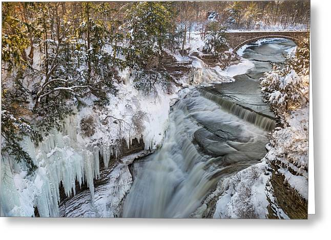 Taughannock Falls State Park Greeting Cards - Upper Taughannock Winter Greeting Card by Mark Papke