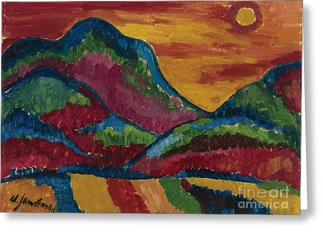 Strength Paintings Greeting Cards - Upper Village Greeting Card by Celestial Images