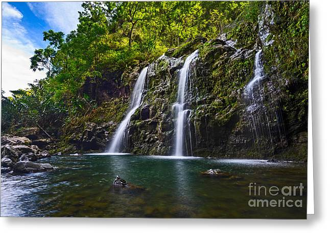 Waterfall Greeting Cards - Upper Waikani Falls - the stunningly beautiful Three Bears found in Maui. Greeting Card by Jamie Pham